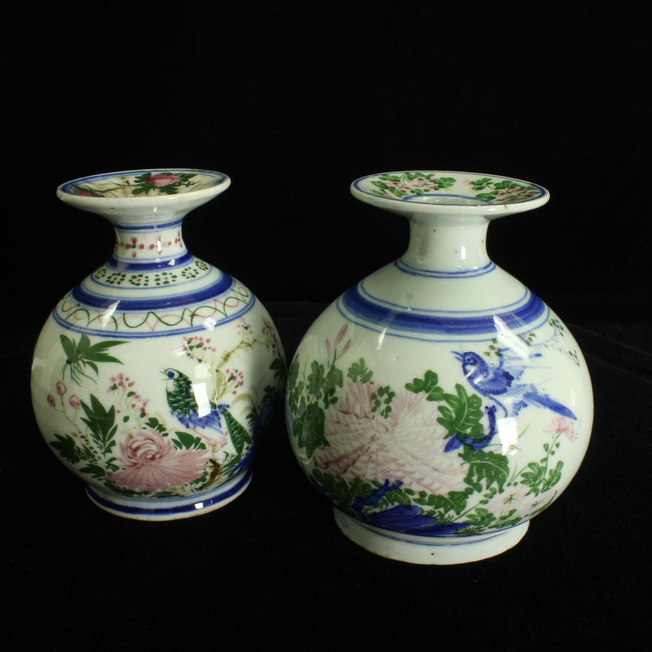 Pair of Qing Dynasty Bottle Vases