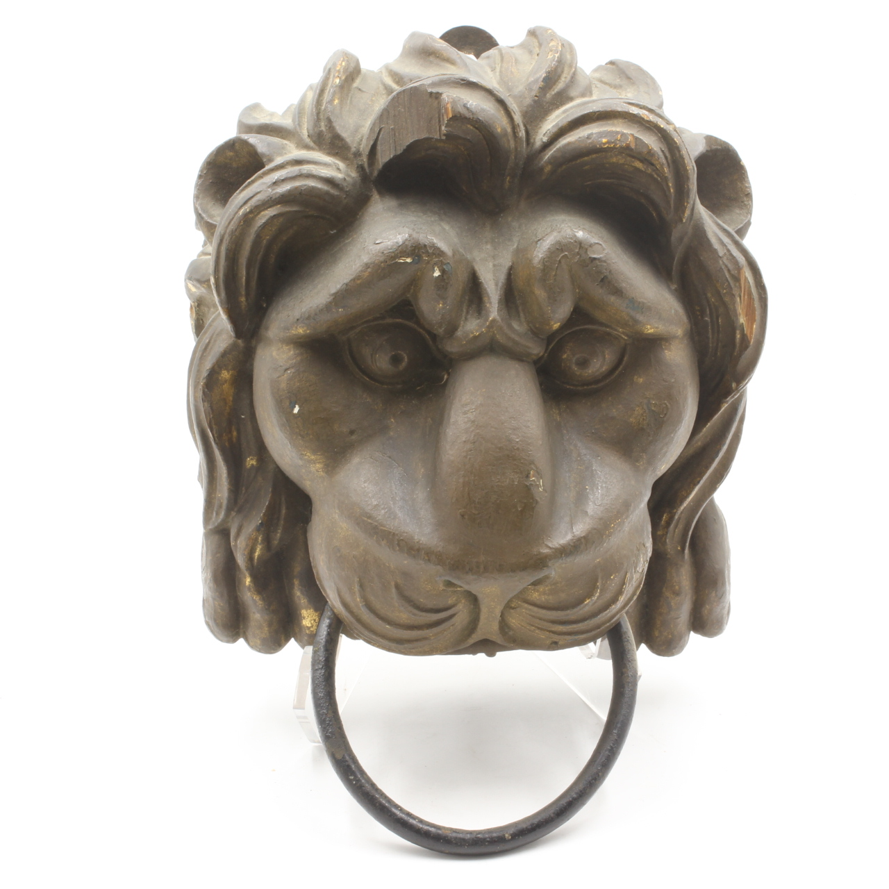 Chinese Wood Carved Lions Head