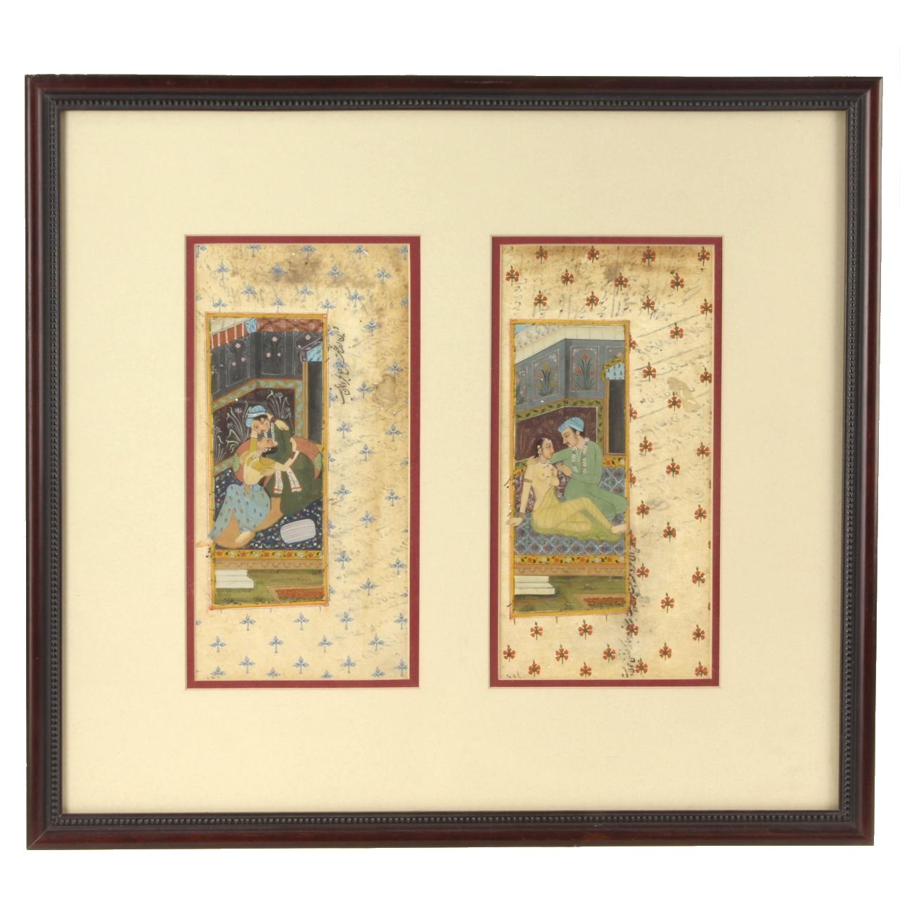 19th C. Mughal Erotic Miniature Paintings
